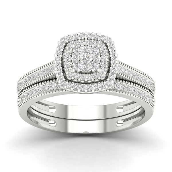 De Couer 10k Gold 1/3ct TDW Diamond Cluster Halo Bridal Set