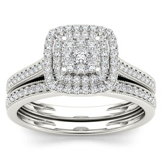 De Couer 10k Gold 1/3ct TDW Diamond Cluster Halo Bridal Set (More options available)
