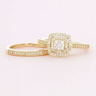 de couer 10k gold 13ct tdw diamond cluster halo bridal set - Engagement And Wedding Ring Set