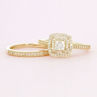 de couer 10k gold 13ct tdw diamond cluster halo bridal set - Engagement And Wedding Ring Sets