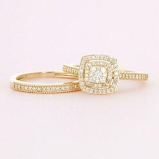 De Couer 10k Gold 1 3ct Tdw Diamond Cer Halo Bridal Set