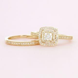De Couer 10k Gold 1/3ct TDW Diamond Cluster Halo Bridal Set|https://ak1.ostkcdn.com/images/products/13065324/P19805499.jpg?impolicy=medium
