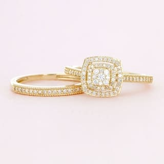 de couer 10k gold 13ct tdw diamond cluster halo bridal set - Wedding Set Rings