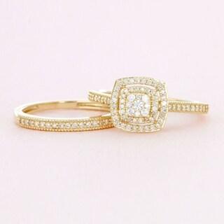 De Couer 10k Gold 1/3ct TDW Diamond Cluster Halo Bridal Set (More Options