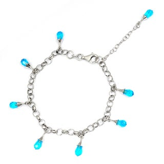 Orchid Jewelry 925 Sterling Silver Blue Glass Bracelet