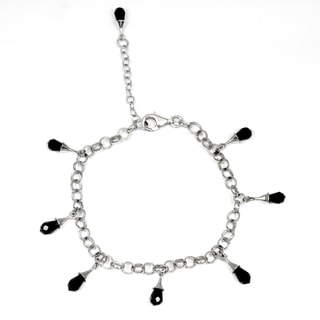 Orchid Jewelry 925 Sterling Silver Glass stone Bracelet