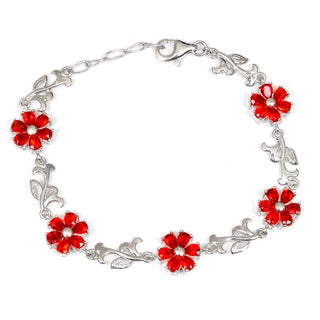 Orchid Jewelry 925 Sterling Silver Pear Cut Red Glass Bracelet
