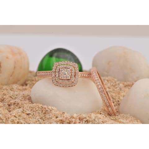 De Couer 10k Rose Gold 1/3ct TDW Diamond Cluster Halo Bridal Set