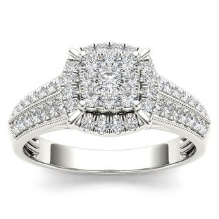 De Couer 10k White Gold 1/2ct TDW Diamond Cluster Halo Engagement Ring (H-I, I2)