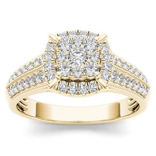 De Couer 10k Yellow Gold 1/2ct TDW Diamond Cluster Halo Engagement Ring (H-I, I2)