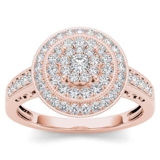 De Couer 10k Rose Gold 1/2ct TDW Diamond Cluster Halo Engagement Ring - Pink