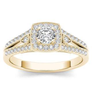 De Couer 14k Yellow Gold 1/2ct TDW Diamond Halo Split Shank Engagement Ring (H-I,I2)