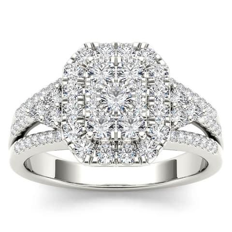 De Couer IGI Certified 14k White Gold 1ct TDW Diamond Halo Engagement Ring