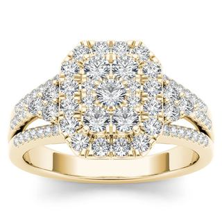 De Couer 14k Yellow Gold 1ct TDW Diamond Halo Engagement Ring (H-I,I2)