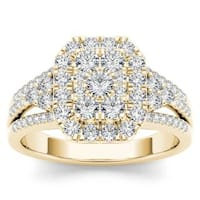 De Couer 14k Yellow Gold 1ct TDW Diamond Halo Engagement Ring