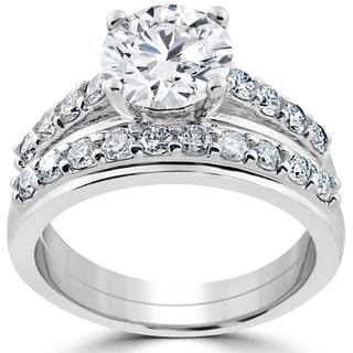 14k White Gold 3ct Diamond Engagement Wedding Ring Set (H-I, I2-I3)