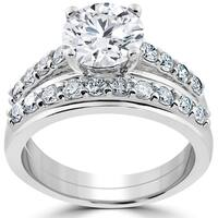 14k White Gold 3ct Diamond Engagement Wedding Ring Set