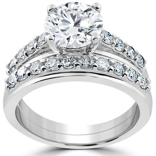 14k White Gold 3ct Diamond Engagement Wedding Ring Set