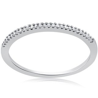 10k White Gold 1/10ct Diamond Womens Stackable Wedding Ring (J-K, I2-I3)