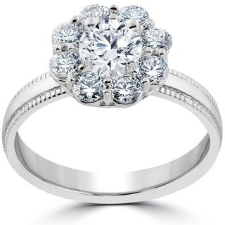 14k White Gold 1 1/3 ct Halo Eco Friendly Lab Grown Diamond Engagement Ring (E-F,VS1-VS2)