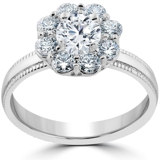 14k White Gold 1 1/3 ct Halo Eco Friendly Lab Grown Diamond Engagement Ring