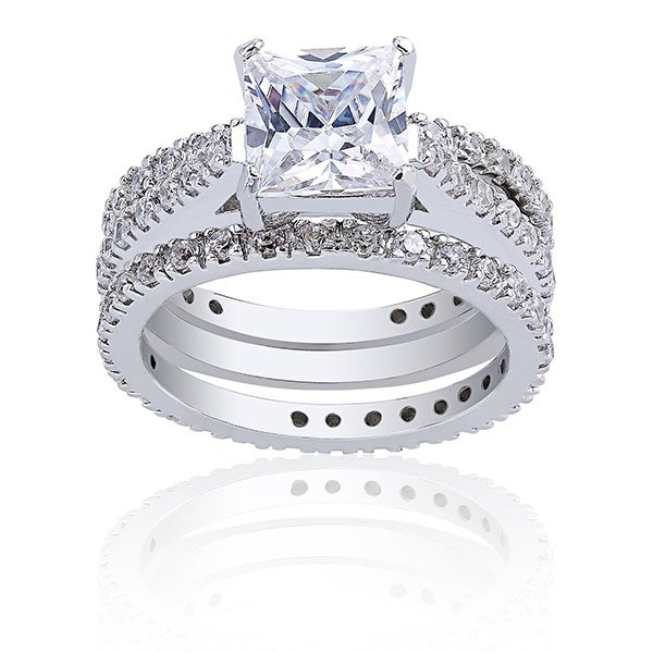 Icz Stonez Sterling Silver 3 1/2ct Cubic Zirconia Bridal Ring Set