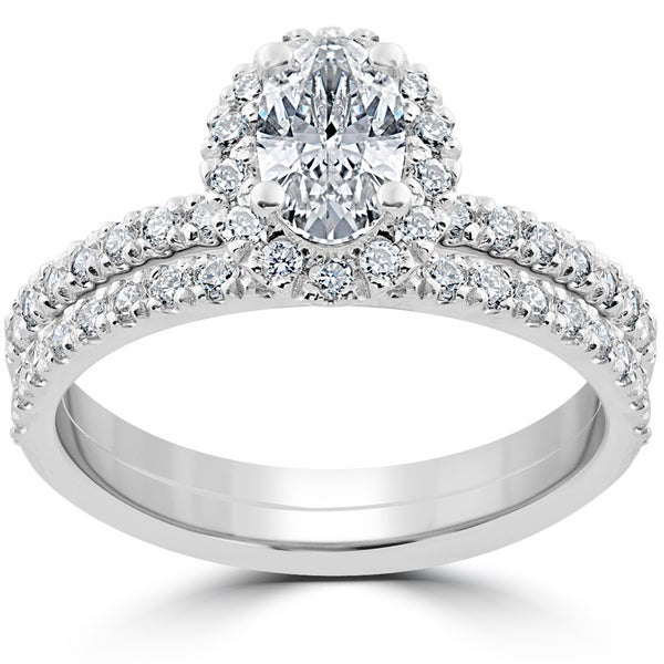 14k White Gold 1 1/4 ct Oval Halo Diamond Engagement Wedding Ring Set