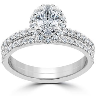 14k White Gold 1 1/4 ct Oval Halo Diamond Engagement Wedding Ring Set (G-H,SI2-I1)