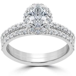 14k White Gold 1 1/4 ct Oval Halo Diamond Engagement Wedding Ring Set|https://ak1.ostkcdn.com/images/products/13073698/P19809633.jpg?impolicy=medium