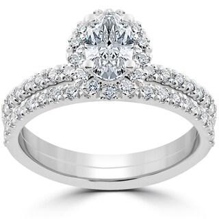 14k White Gold 1 1/4 ct Oval Halo Diamond Engagement Wedding Ring Set