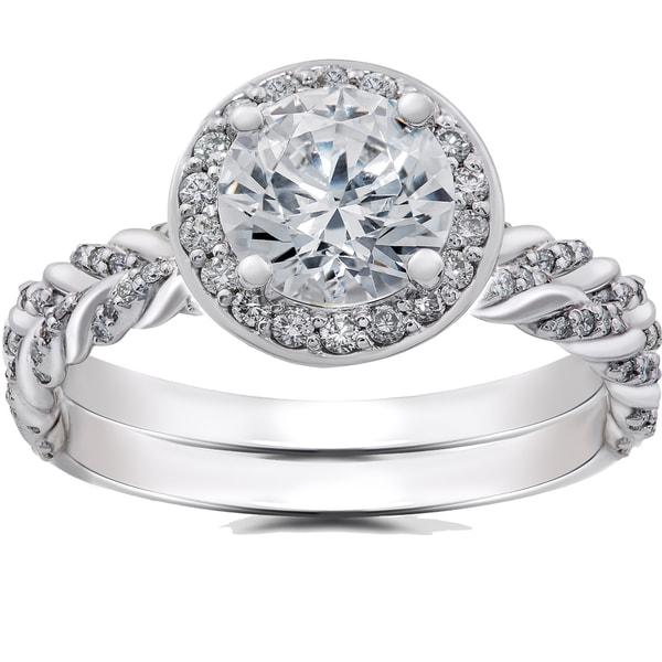 Matching Diamond Engagement And Wedding Ring 1 46ct: Shop 14k White Gold 1 Ct Lab Grown Diamond Vintage Braided
