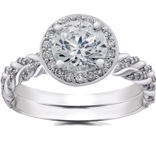 14k White Gold 1 ct Lab Grown Diamond Vintage Braided Halo Engagement Ring & Matching Band (F-G, SI1-SI2)