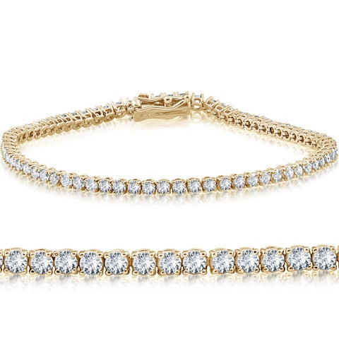 "14k Yellow Gold 4 ct Round Cut Diamond Tennis Bracelet 7"""