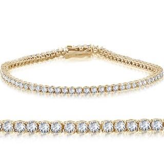 "14k Yellow Gold 4 ct Round Cut Diamond Tennis Bracelet 7"" (I-J ,I2-I3)"