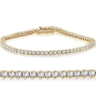 "14k Yellow Gold 4 ct Round Cut Diamond Tennis Bracelet 7"" - White I-J"