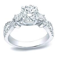 Auriya Platinum 1 1/2ct TDW Twisted Certified 3-Stone Round Diamond Engagement Ring