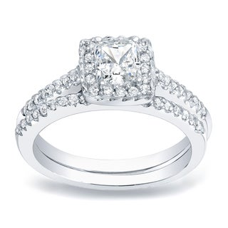 Auriya Platinum 3/4ct TDW Princess Cut Diamond Halo Bridal Ring Set