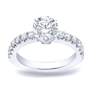 Auriya Platinum 1ct TDW Round Cut Diamond Engagement Ring