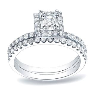 Auriya Platinum 1 1/4ct TDW Princess Cut Diamond Halo Bridal Ring Set (H-I, SI1-SI2)