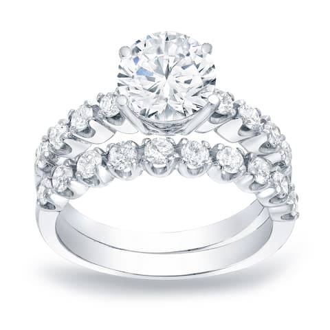 Auriya Platinum 2ctw Round Diamond Engagement Ring Set Gold Certified