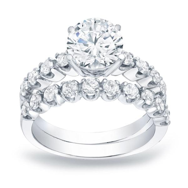 Auriya Platinum 2ctw Round Diamond Engagement Ring Set Gold Certified. Opens flyout.