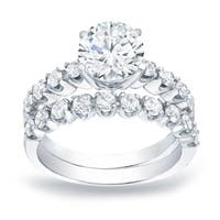 2 Carat tw Certified Round Diamond Engagement Ring Set Platinum by Auriya