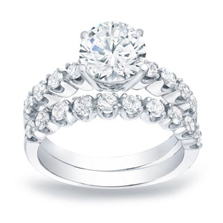 Auriya Platinum 2ct TDW Certified Round Diamond Solitaire Engagement Ring Set (More options available)