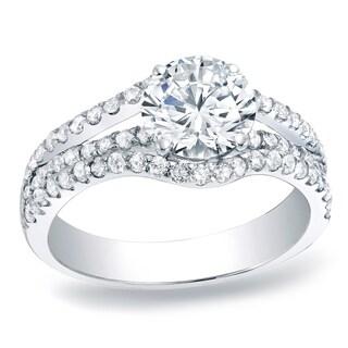 Auriya Platinum 1ct TDW Round Cut Diamond Multi-Row Engagement Ring