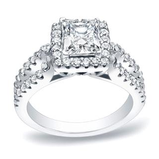 Auriya Platinum 1 3/4ct TDW Certified Princess Cut Diamond Halo Engagement Ring (H-I, SI1-SI2)