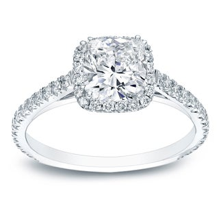 Auriya Platinum 1 3/4ct TDW Certified Cushion Cut Diamond Halo Engagement Ring