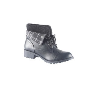 Hadari Women's Casual Fashion Foldable Plaid Print Black Boots