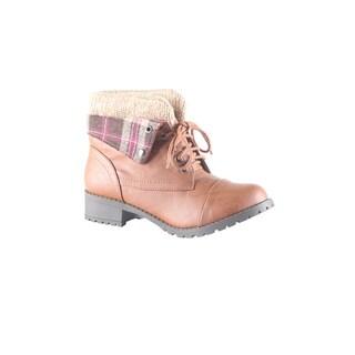 Hadari Women's Casual Fashion Foldable Plaid Print Brown Boots