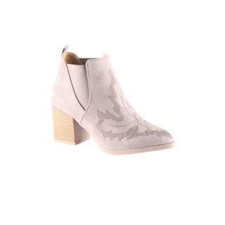 Hadari Women's Cowgirl Low Heel Ankle Bootie Taupe Closed Toe Shoes