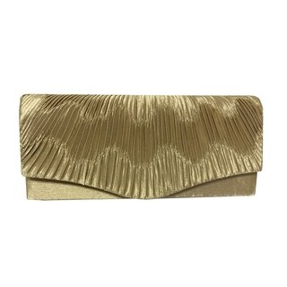 Alfa Black/Gold/Silver Fabric/Faux Leather/Satin Elegant Evening Clutch Handbag